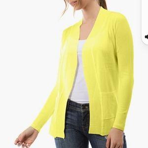 NWT Cielo lemon yellow open cardigan sweater sz S